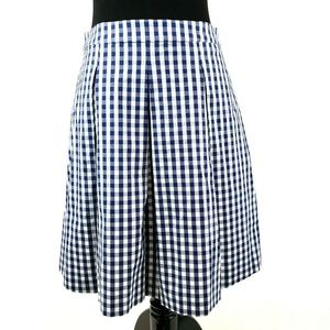Brooks Brothers Skirt  Navy Blue Gingham Pleated